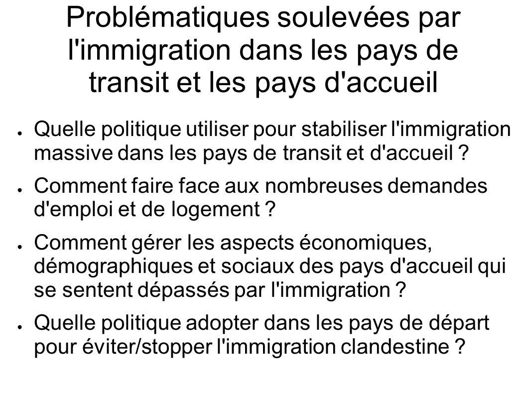 Problématiques soulevées par l immigration dans les pays de transit et les pays d accueil