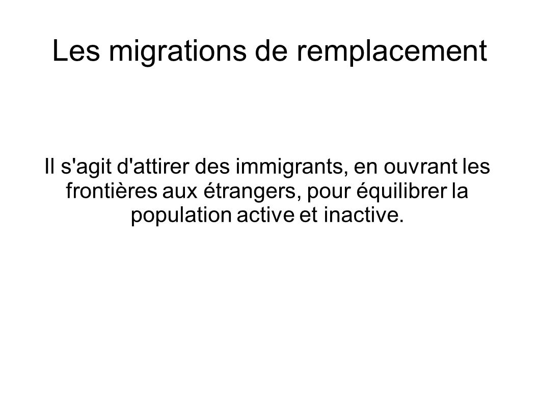 Les migrations de remplacement