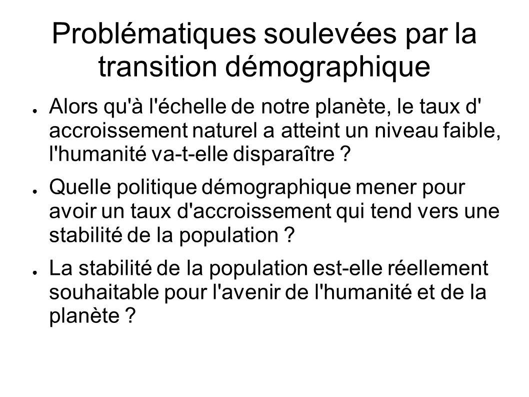 Problématiques soulevées par la transition démographique