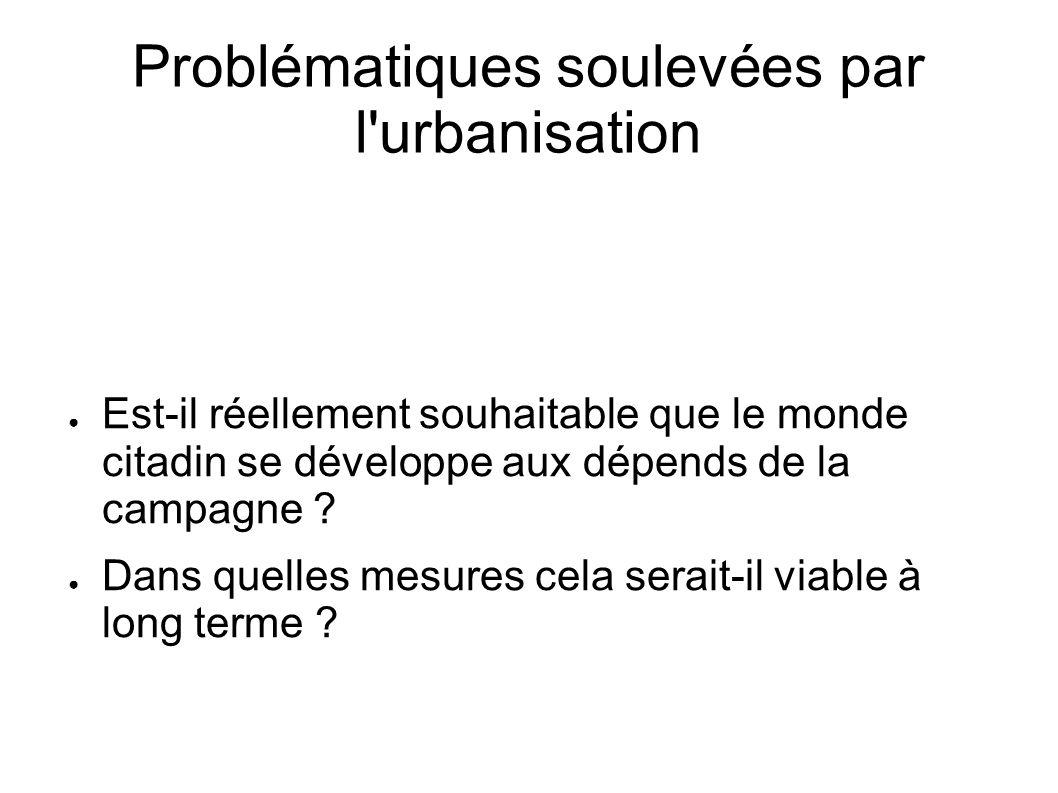 Problématiques soulevées par l urbanisation
