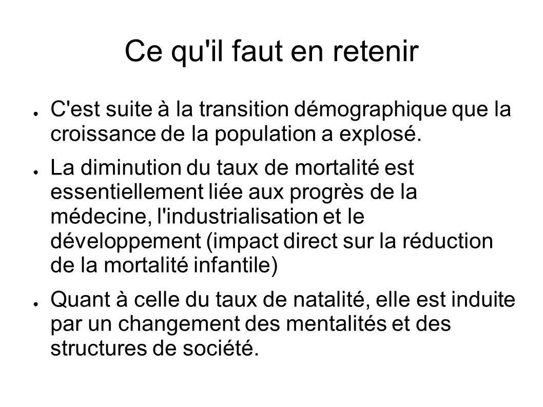 Ce qu il faut en retenir C est suite à la transition démographique que la croissance de la population a explosé.