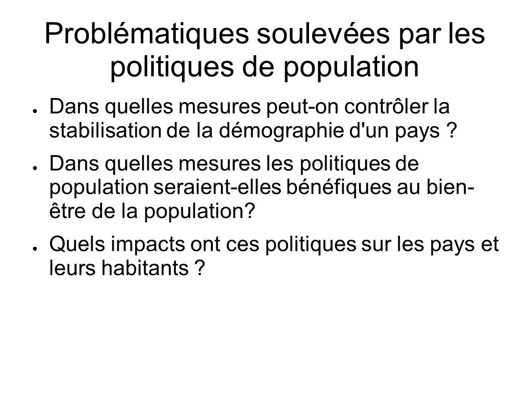 Problématiques soulevées par les politiques de population