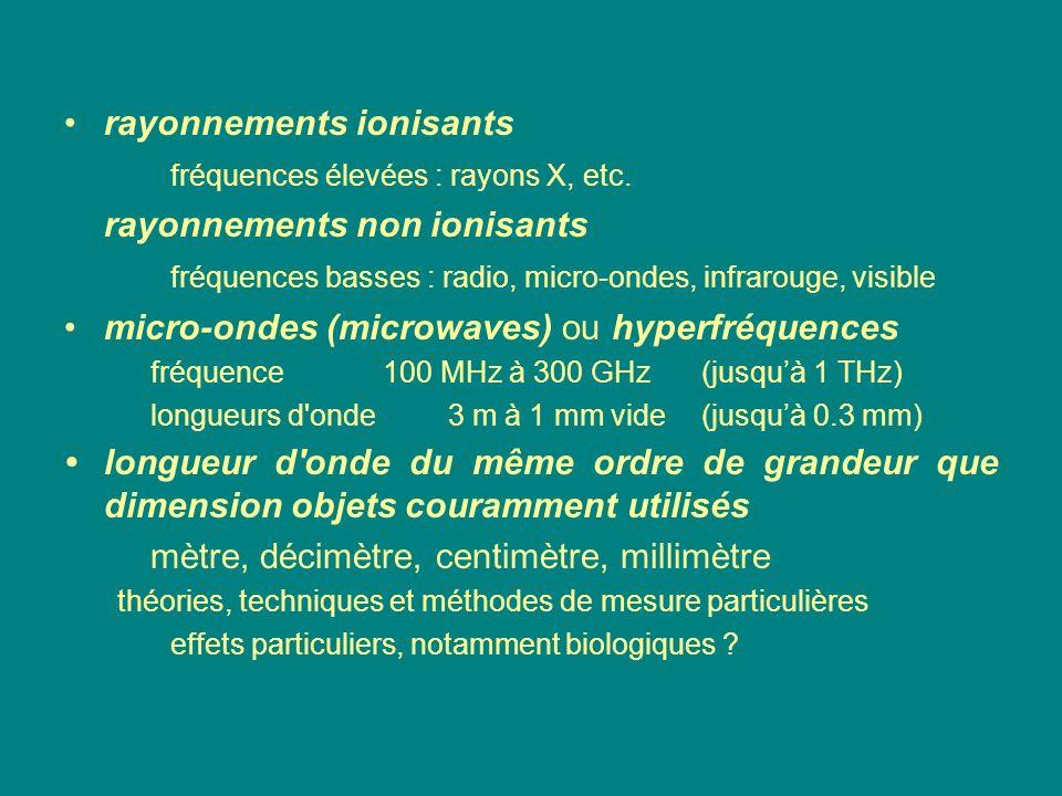 rayonnements ionisants fréquences élevées : rayons X, etc.