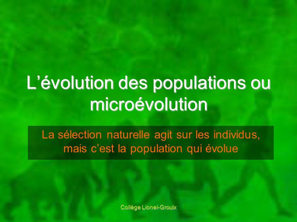 L'évolution des populations ou microévolution