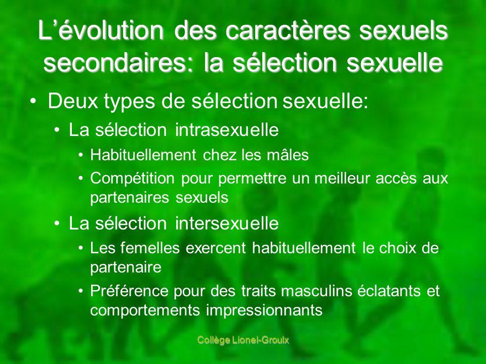 L'évolution des caractères sexuels secondaires: la sélection sexuelle