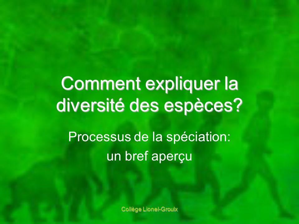 Comment expliquer la diversité des espèces