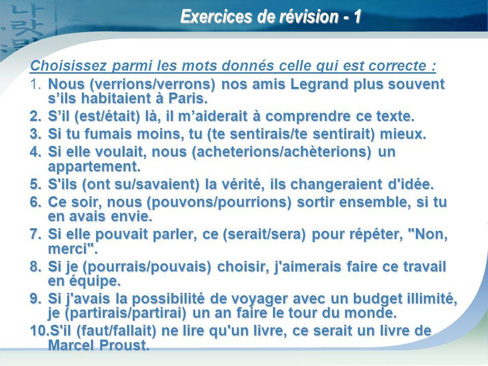 Exercices de révision - 1