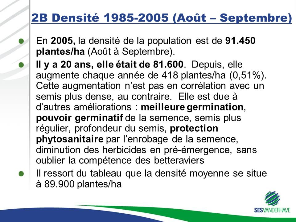2B Densité 1985-2005 (Août – Septembre)