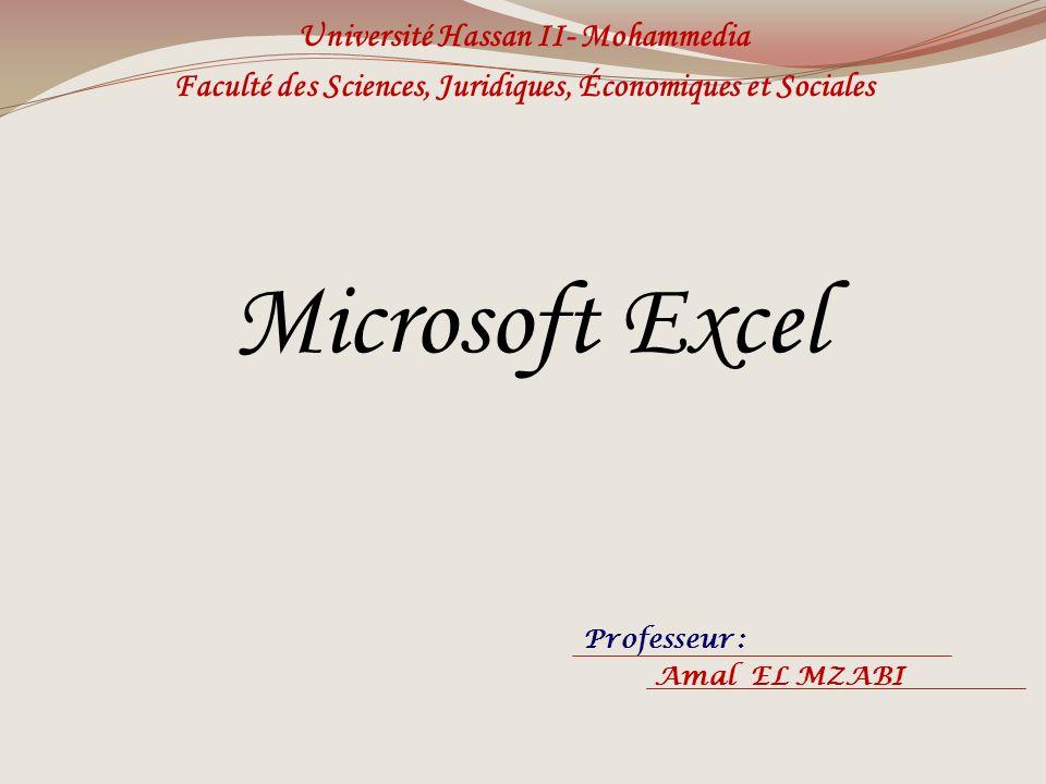 Microsoft Excel Université Hassan II- Mohammedia