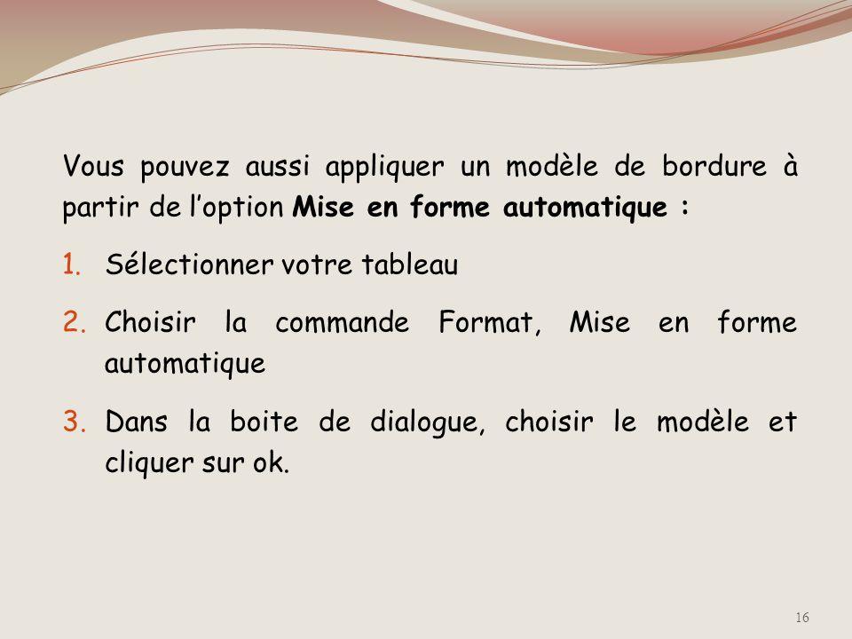 Vous pouvez aussi appliquer un modèle de bordure à partir de l'option Mise en forme automatique :