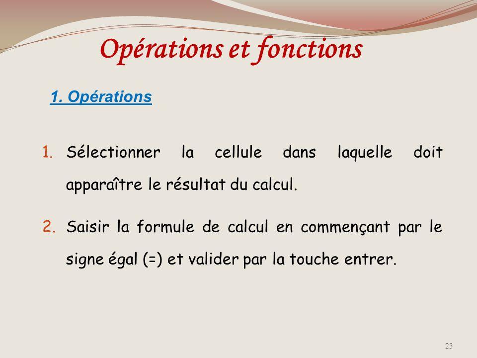 Opérations et fonctions
