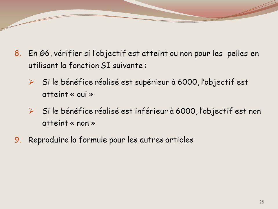 En G6, vérifier si l'objectif est atteint ou non pour les pelles en utilisant la fonction SI suivante :