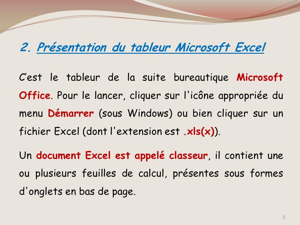 2. Présentation du tableur Microsoft Excel