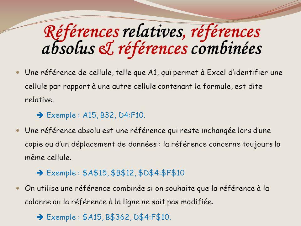 Références relatives, références absolus & références combinées