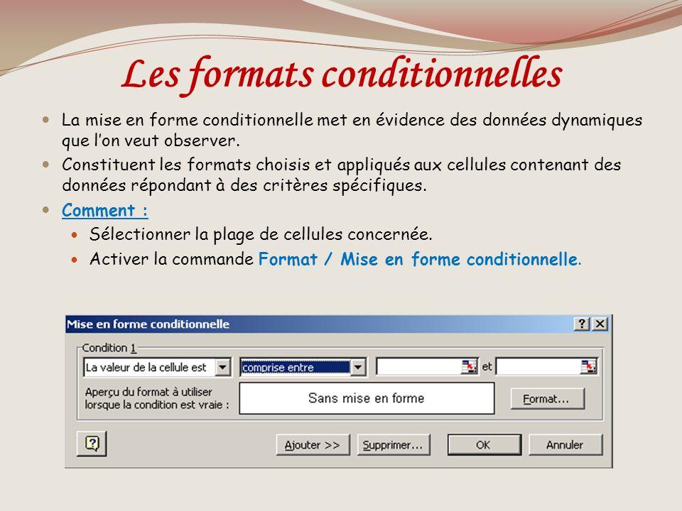 Les formats conditionnelles