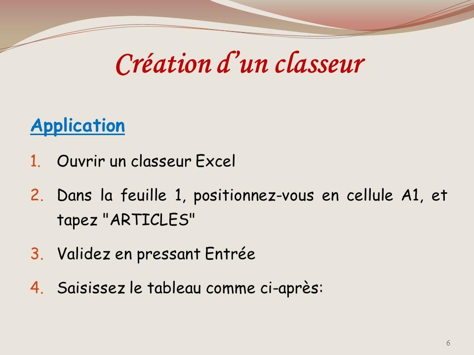 Création d'un classeur