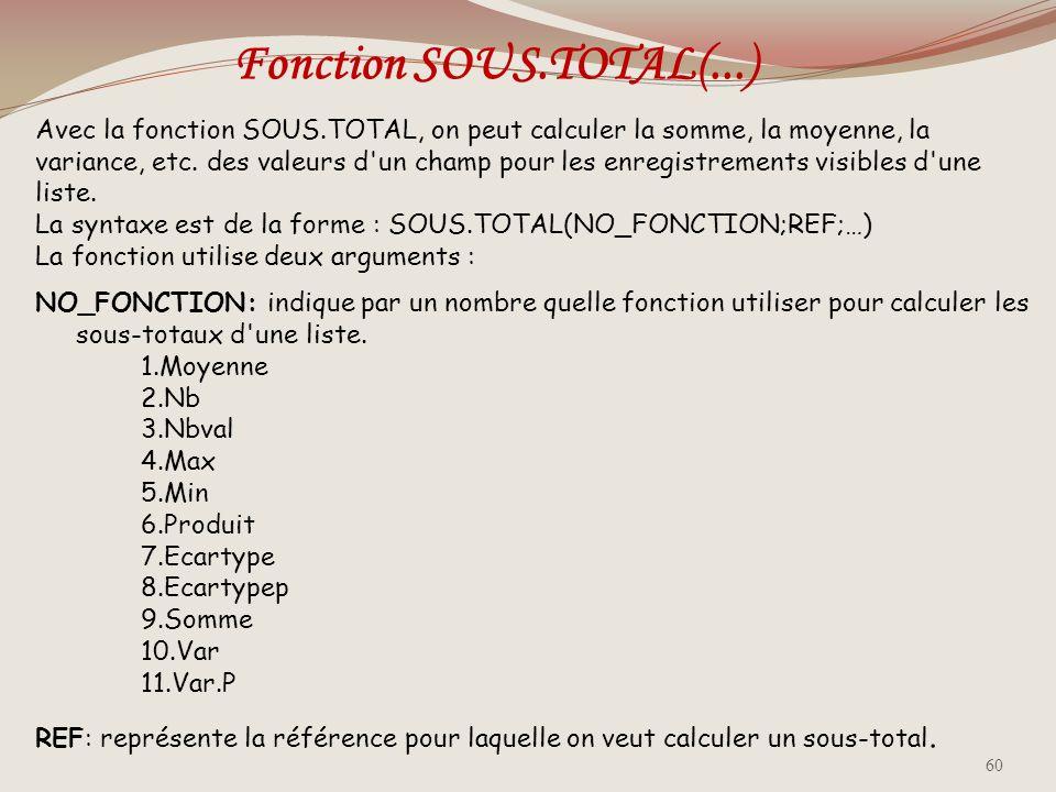 Fonction SOUS.TOTAL(...)