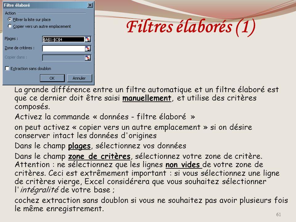 Filtres élaborés (1) Activez la commande « données - filtre élaboré »