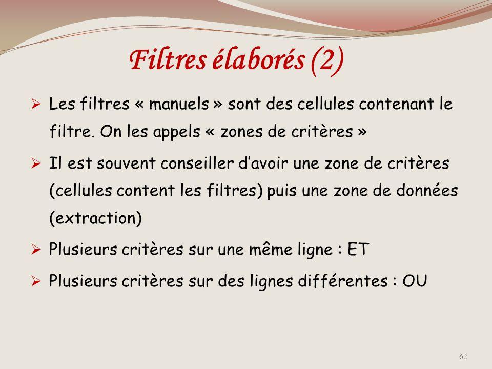 Filtres élaborés (2) Les filtres « manuels » sont des cellules contenant le filtre. On les appels « zones de critères »