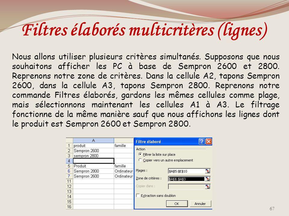 Filtres élaborés multicritères (lignes)