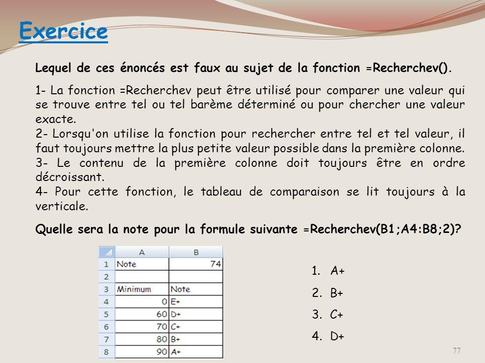Exercice Lequel de ces énoncés est faux au sujet de la fonction =Recherchev().