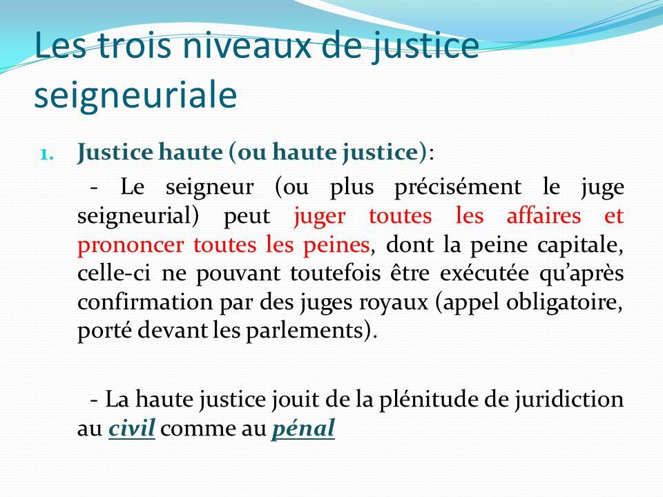 Les trois niveaux de justice seigneuriale