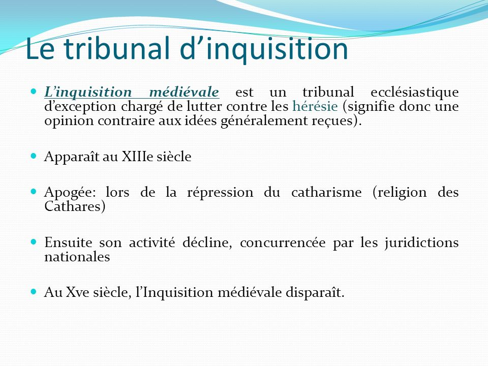 Le tribunal d'inquisition