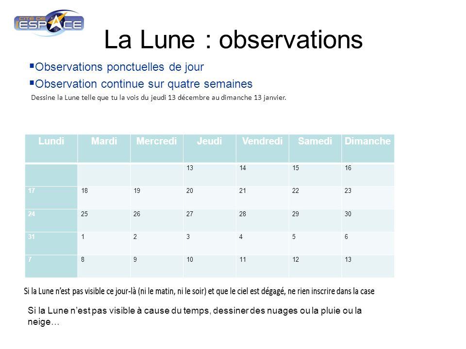 La Lune : observations Observations ponctuelles de jour