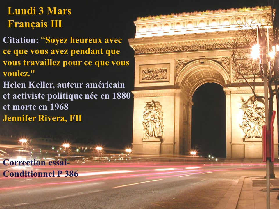 Lundi 3 Mars Français III