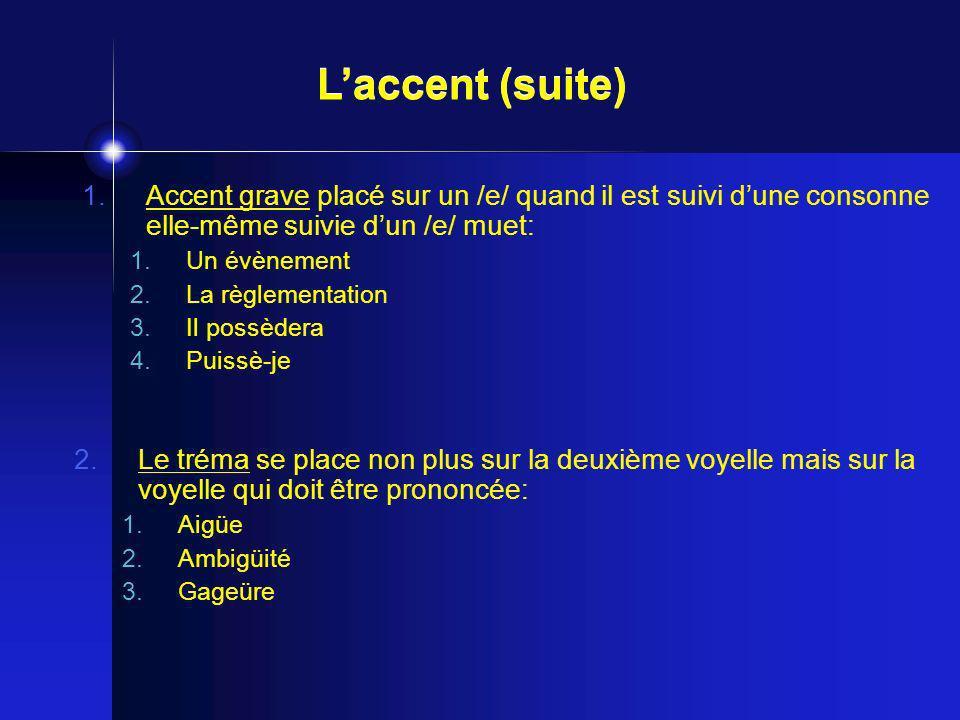 L'accent (suite) Accent grave placé sur un /e/ quand il est suivi d'une consonne elle-même suivie d'un /e/ muet: