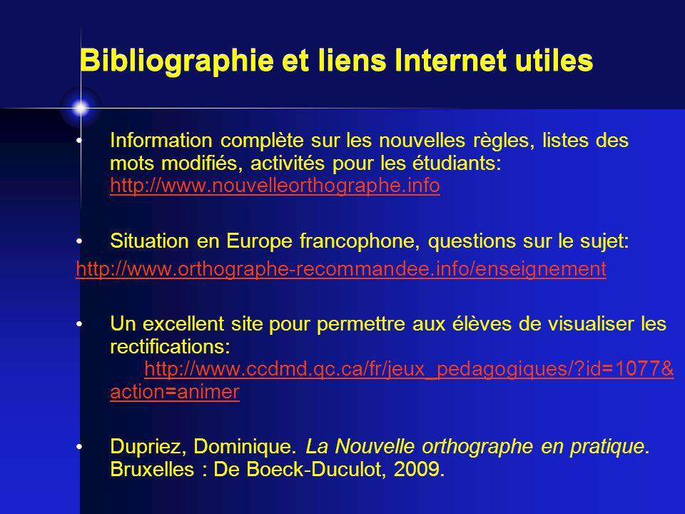 Bibliographie et liens Internet utiles