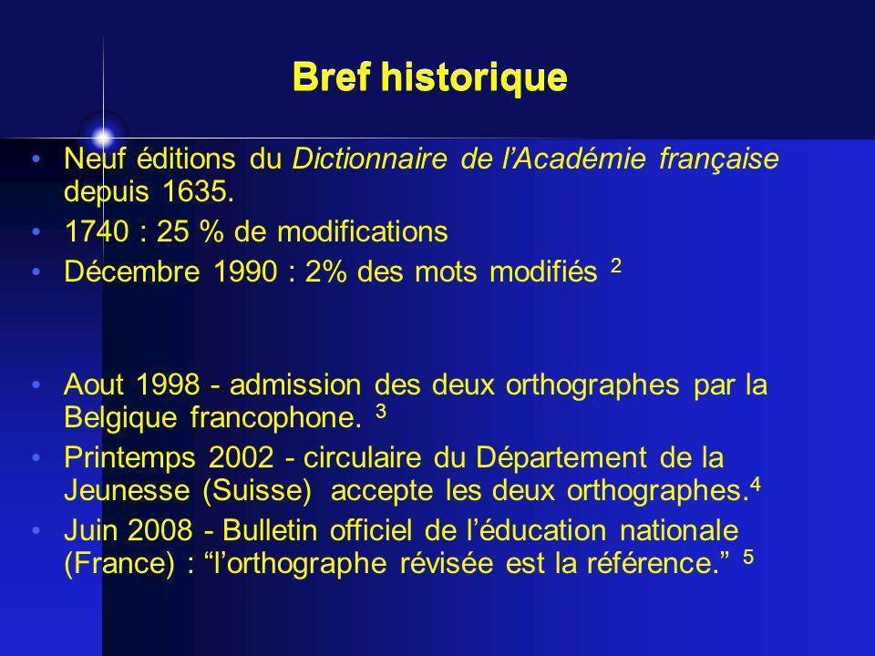 Bref historique Neuf éditions du Dictionnaire de l'Académie française depuis 1635. 1740 : 25 % de modifications.