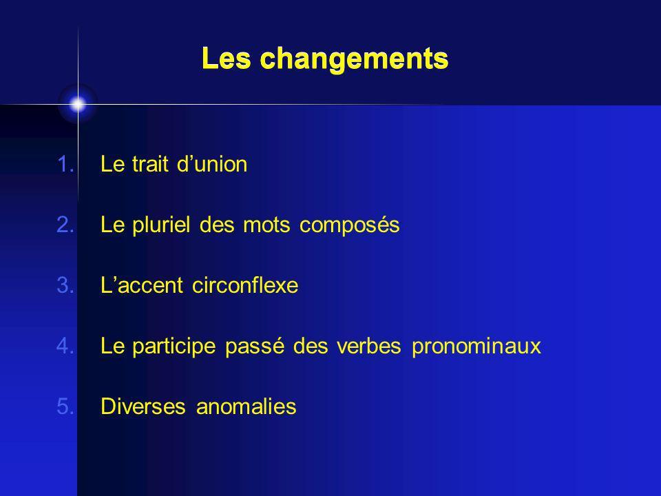 Les changements Le trait d'union Le pluriel des mots composés