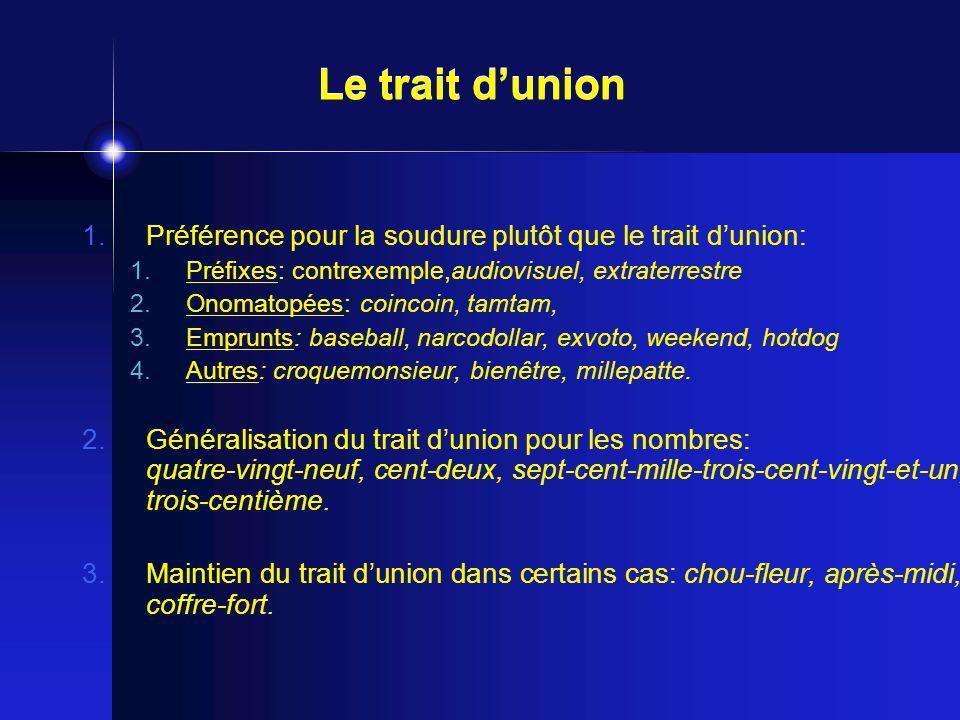 Le trait d'union Préférence pour la soudure plutôt que le trait d'union: Préfixes: contrexemple,audiovisuel, extraterrestre.