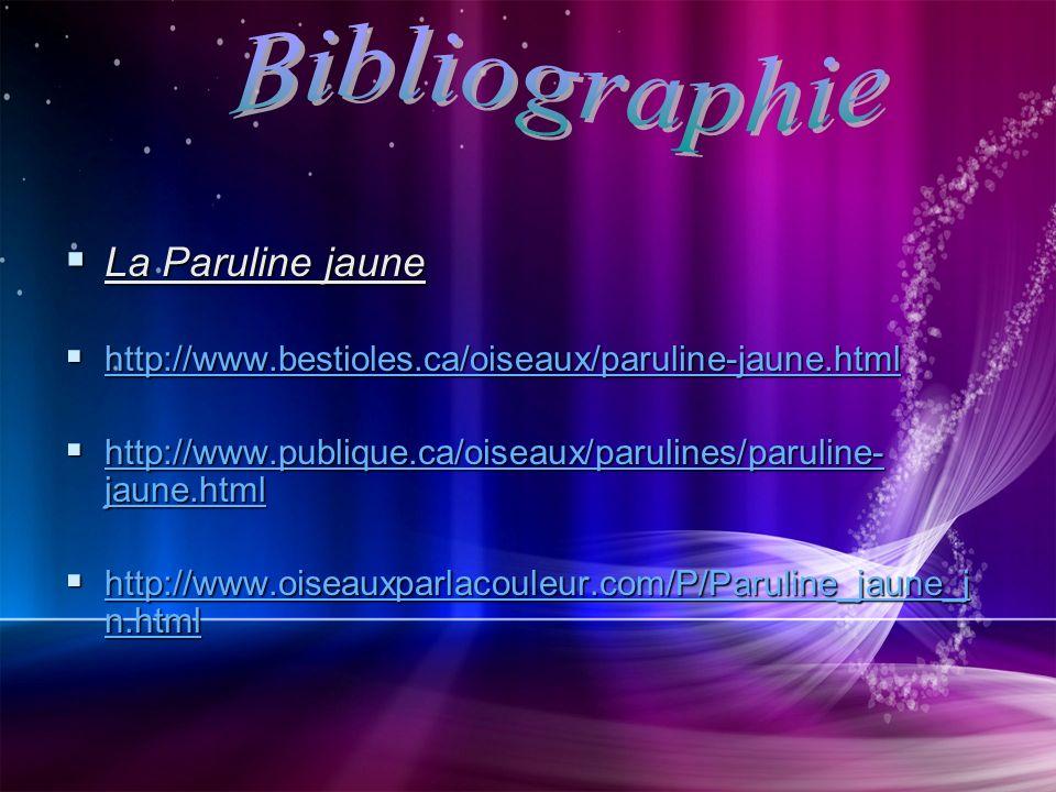 Bibliographie La Paruline jaune