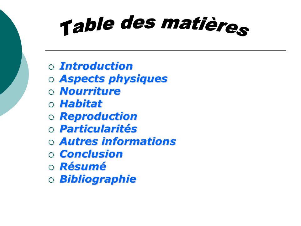 Table des matières Introduction Aspects physiques Nourriture Habitat