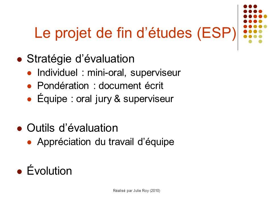 Le projet de fin d'études (ESP)