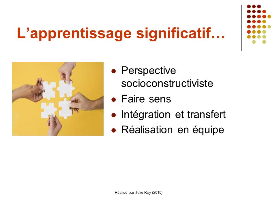 L'apprentissage significatif…
