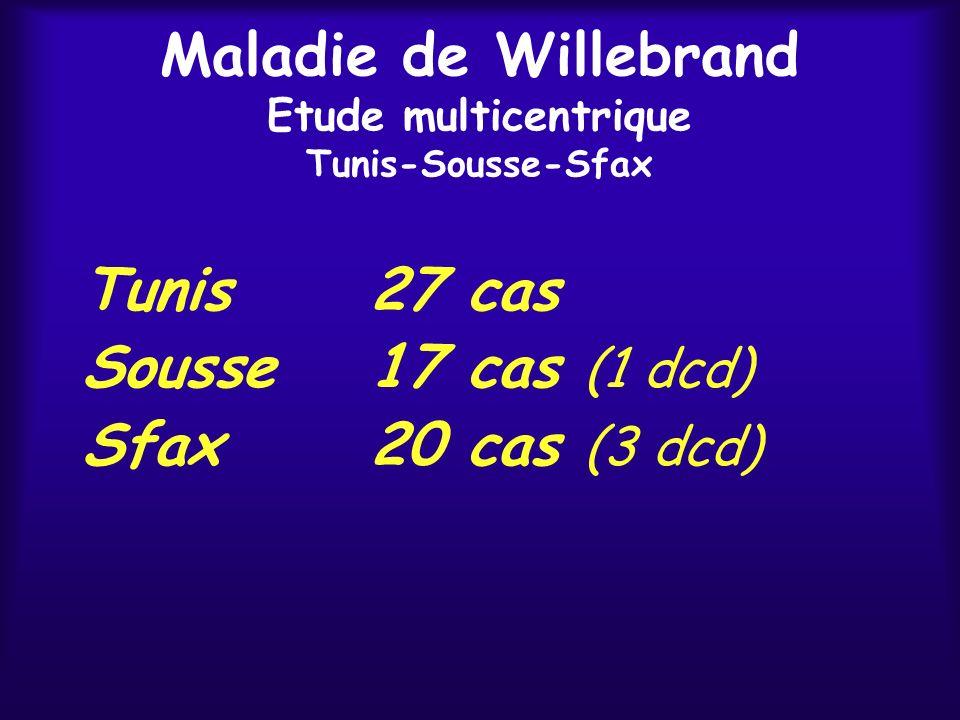 Maladie de Willebrand Etude multicentrique Tunis-Sousse-Sfax