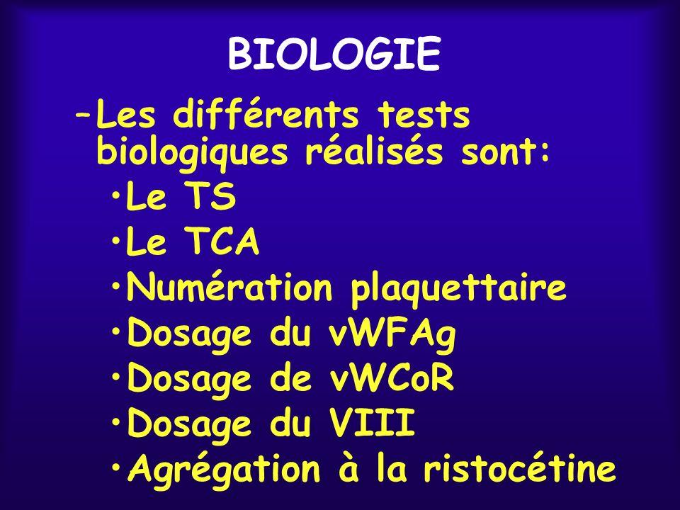 BIOLOGIE Les différents tests biologiques réalisés sont: Le TS Le TCA