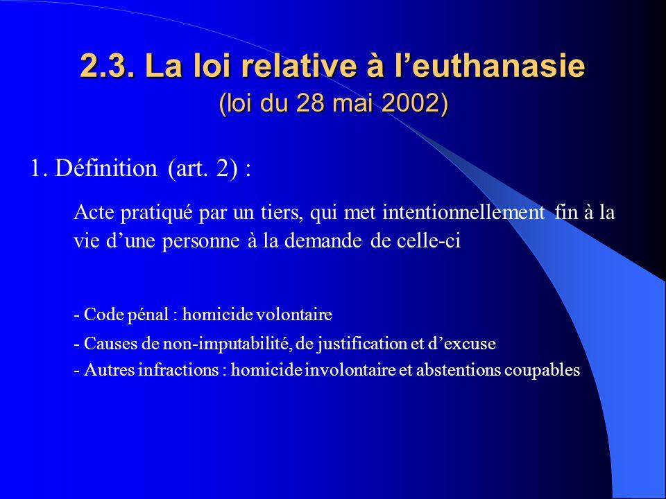 2.3. La loi relative à l'euthanasie (loi du 28 mai 2002)