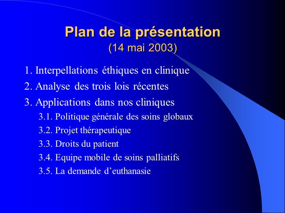 Plan de la présentation (14 mai 2003)