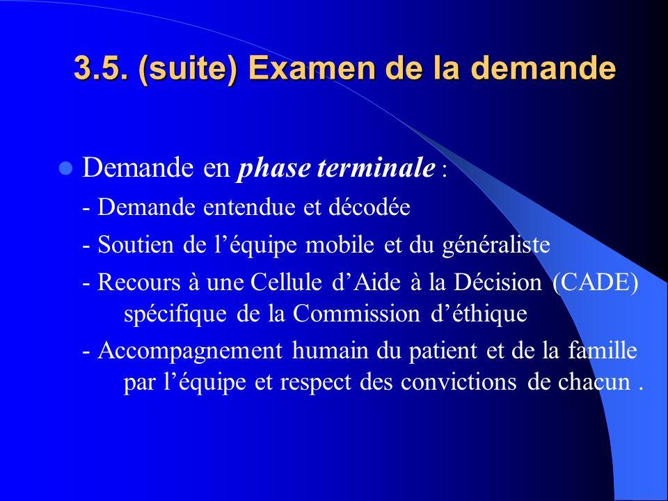 3.5. (suite) Examen de la demande