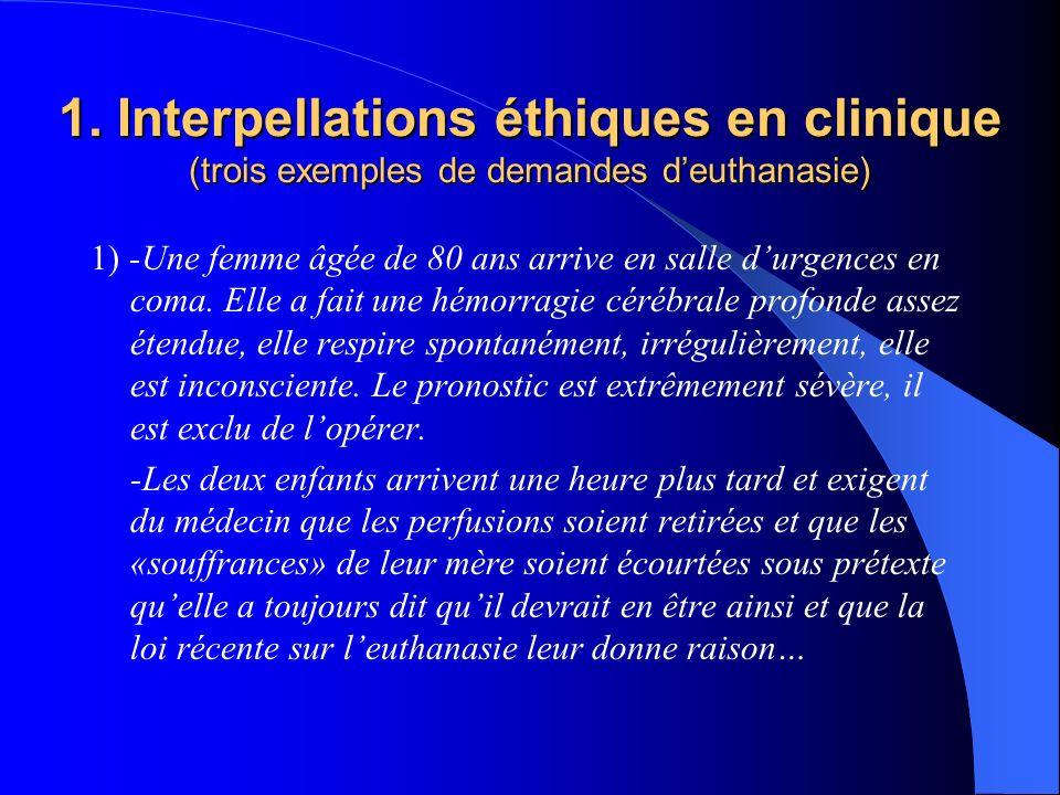 1. Interpellations éthiques en clinique (trois exemples de demandes d'euthanasie)