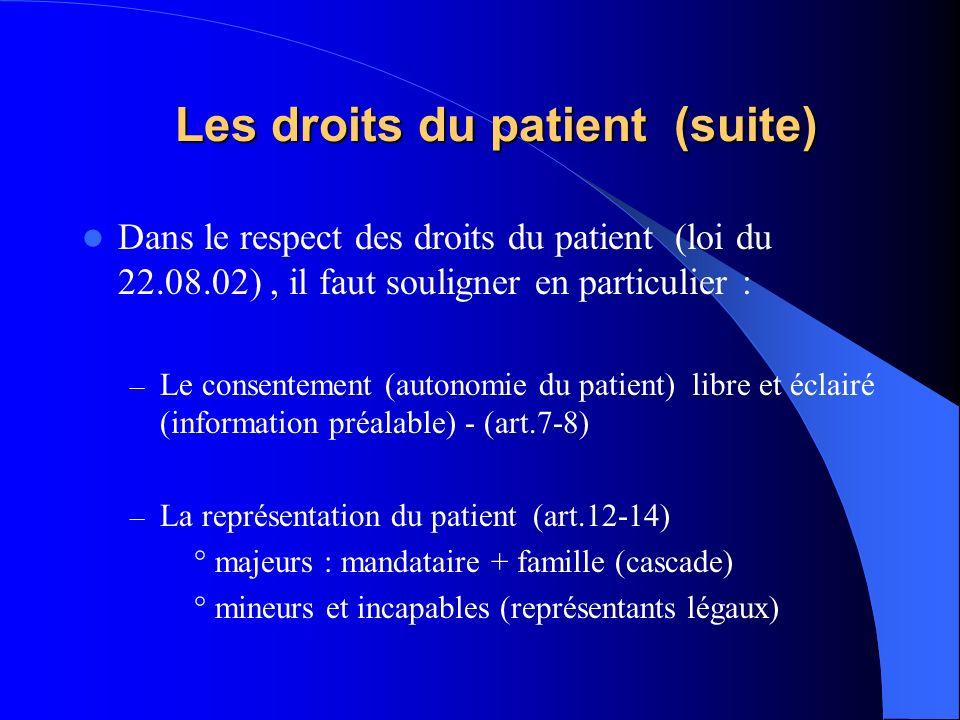 Les droits du patient (suite)