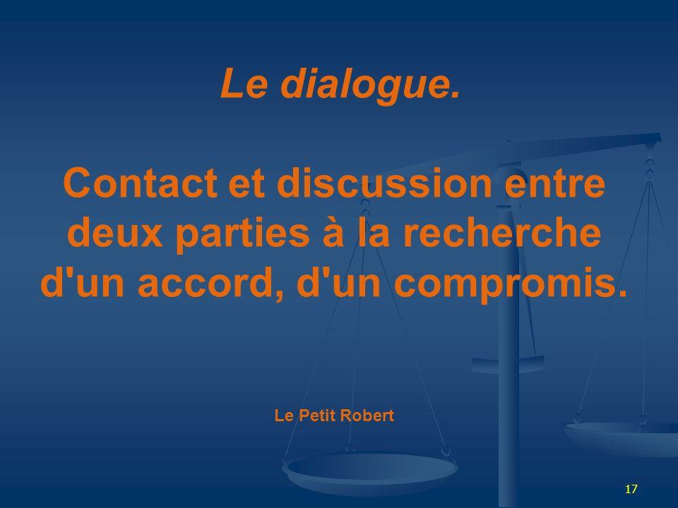 Le dialogue.