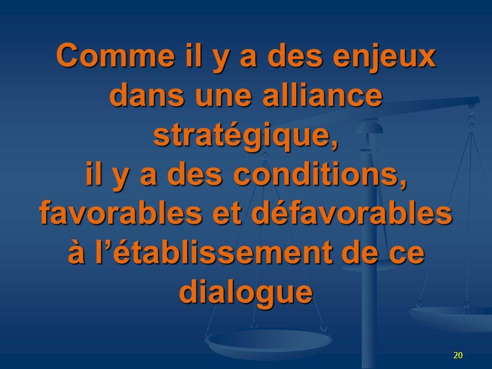 Comme il y a des enjeux dans une alliance stratégique, il y a des conditions, favorables et défavorables à l'établissement de ce dialogue