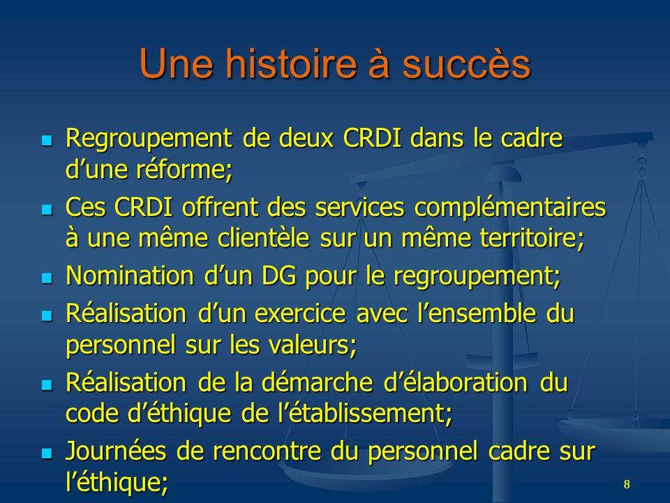 Une histoire à succès Regroupement de deux CRDI dans le cadre d'une réforme;
