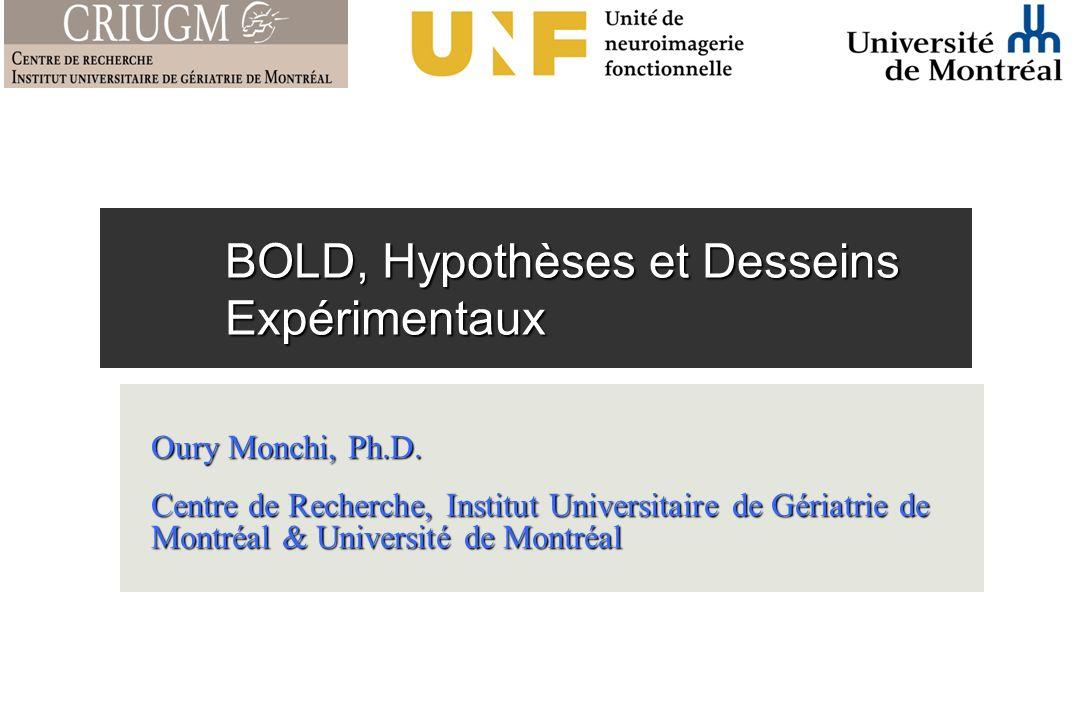 BOLD, Hypothèses et Desseins Expérimentaux