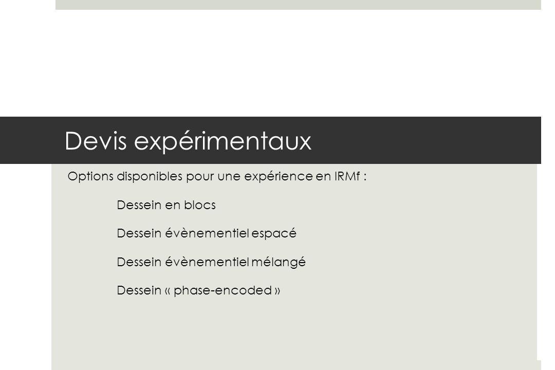Devis expérimentaux Options disponibles pour une expérience en IRMf :